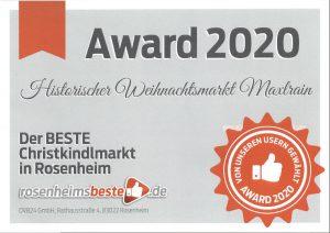 Auszeichnung bester Christkindlmarkt Rosenheim 2020